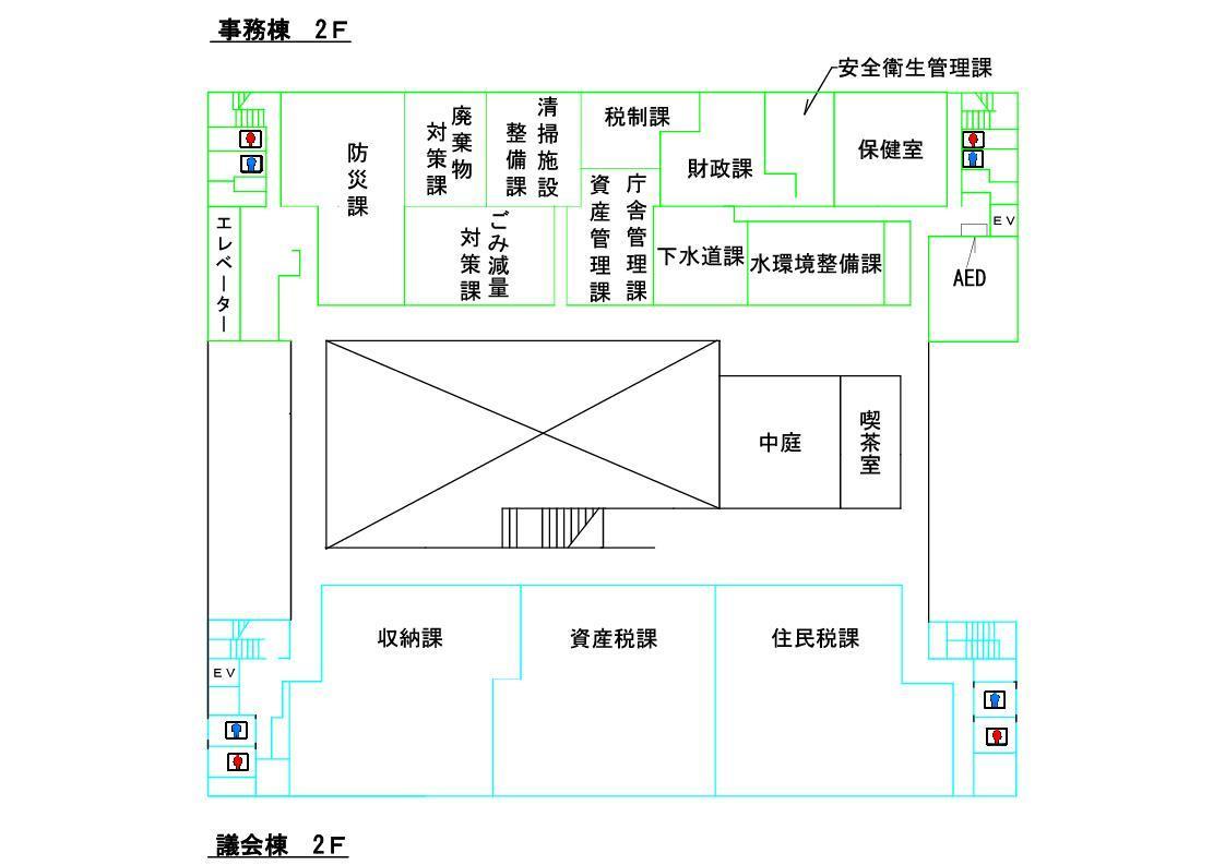 本庁舎2階フロア図